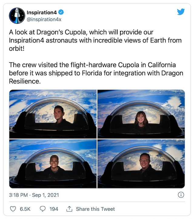 SpaceX Insp4 Cupola